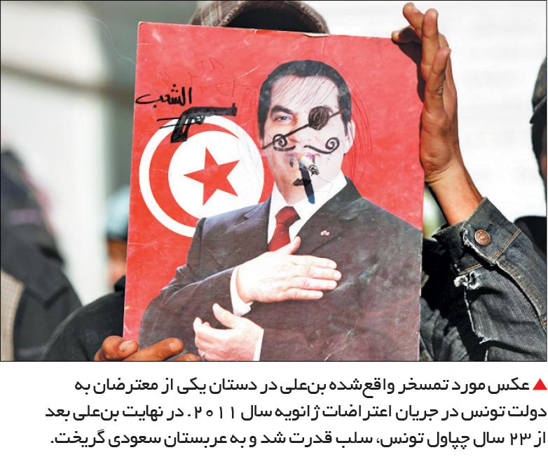 تجارت- فردا-  عکس مورد تمسخر واقعشده بنعلی در دستان یکی از معترضان به دولت تونس در جریان اعتراضات ژانویه سال 2011. در نهایت بنعلی بعد از 23 سال چپاول تونس، سلب قدرت شد و به عربستان سعودی گریخت.