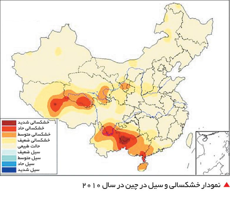 تجارت فردا-  نمودار خشکسالی و سیل در چین در سال 2010