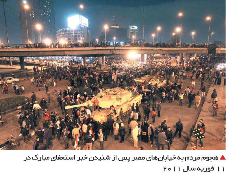 تجارت- فردا-  هجوم مردم به خیابانهای مصر پس از شنیدن خبر استعفای مبارک در 11 فوریه سال 2011